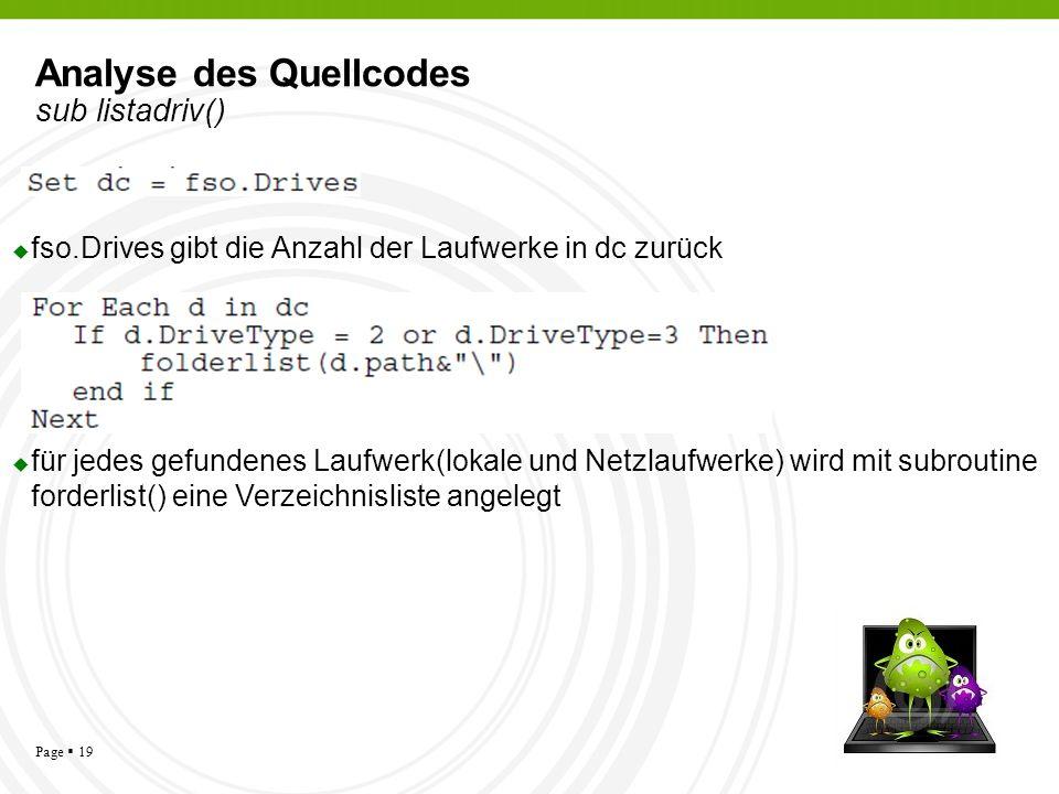 Analyse des Quellcodes sub listadriv()