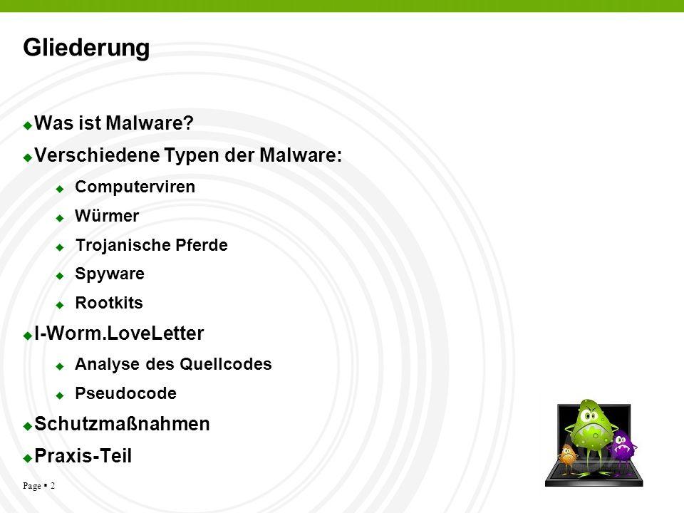 Gliederung Was ist Malware Verschiedene Typen der Malware: