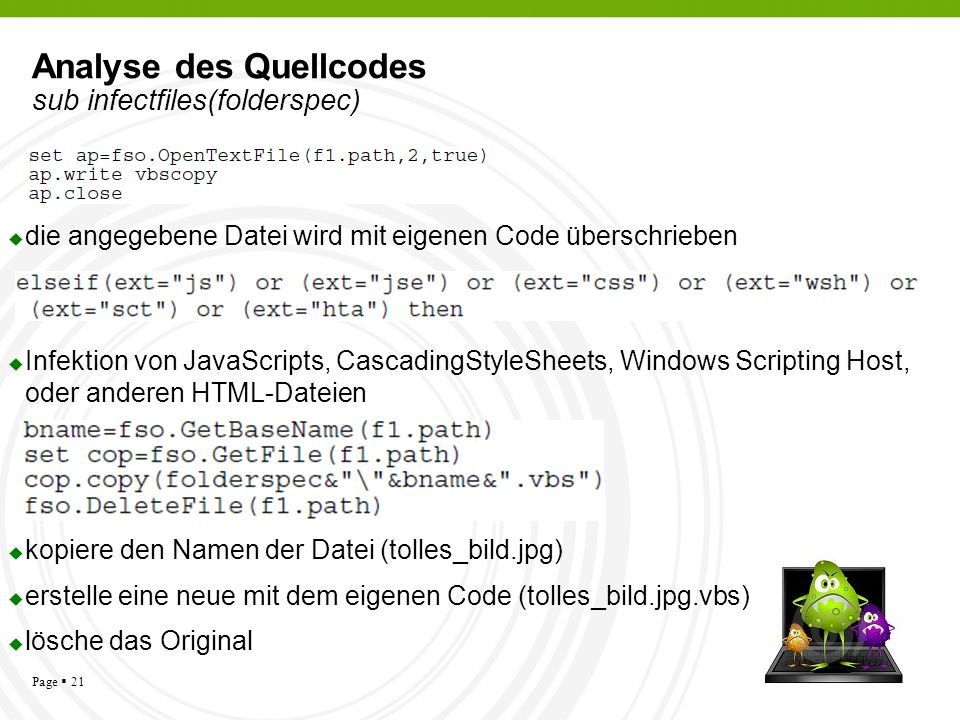 Analyse des Quellcodes sub infectfiles(folderspec)