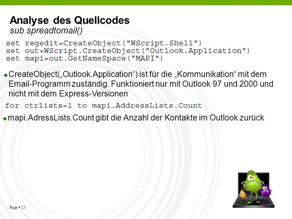 Analyse des Quellcodes sub spreadtomail()