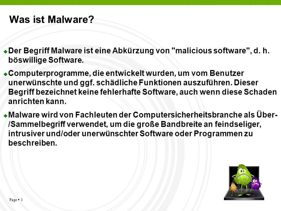 Was ist Malware Der Begriff Malware ist eine Abkürzung von malicious software , d. h. böswillige Software.