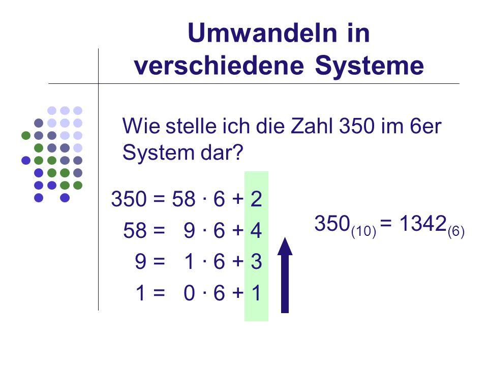 Umwandeln in verschiedene Systeme