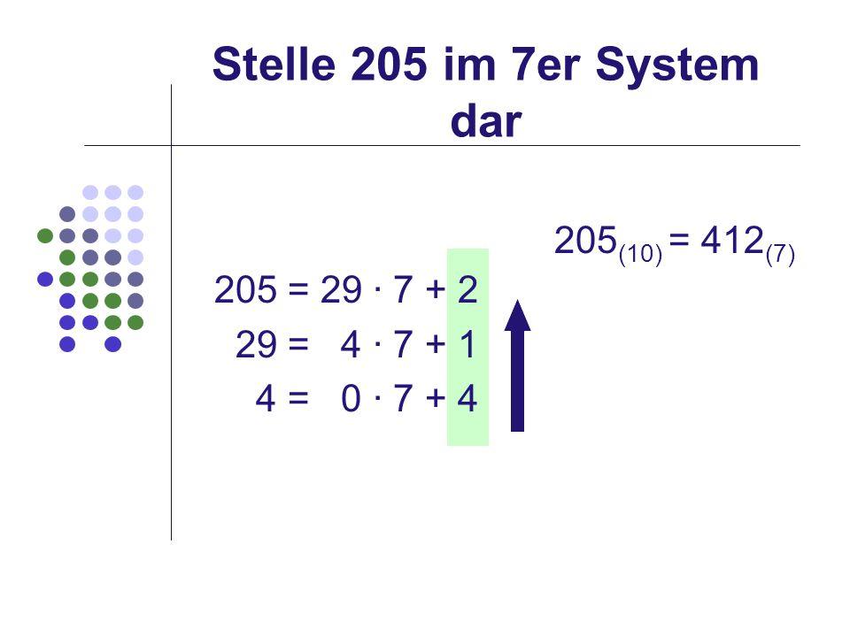 Stelle 205 im 7er System dar 205(10) = 412(7) 205 = 29 · 7 + 2