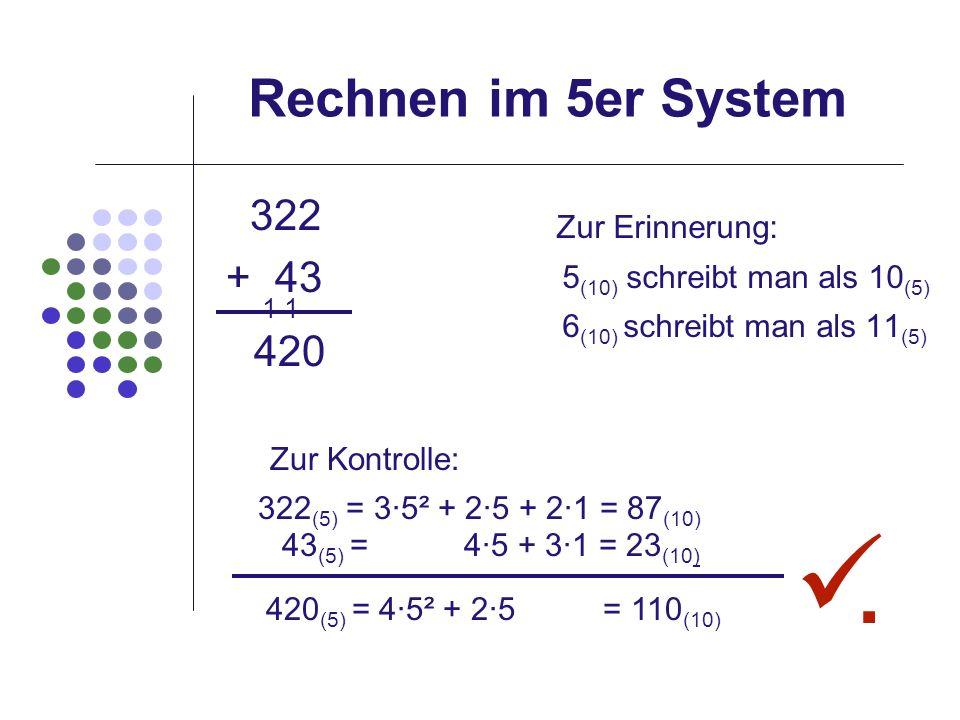 . Rechnen im 5er System 322 Zur Erinnerung: + 43 1 1 420