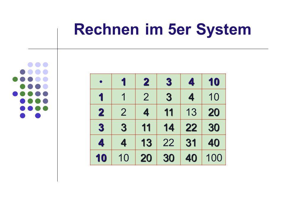 Rechnen im 5er System • 1 2 3 4 10 11 13 20 14 22 30 31 40 100