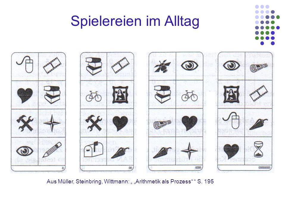 """Spielereien im Alltag Aus Müller, Steinbring, Wittmann: """" """"Arithmetik als Prozess S. 195"""