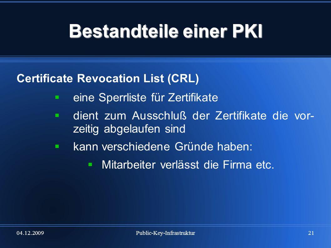 Bestandteile einer PKI