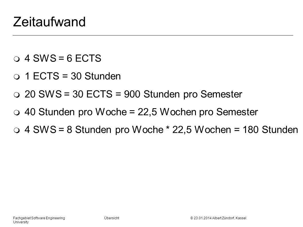 Zeitaufwand 4 SWS = 6 ECTS 1 ECTS = 30 Stunden