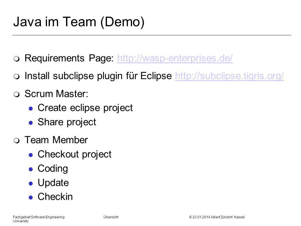 Java im Team (Demo) Requirements Page: http://wasp-enterprises.de/