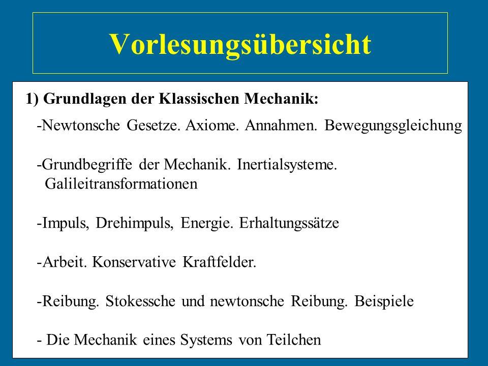 Vorlesungsübersicht 1) Grundlagen der Klassischen Mechanik: