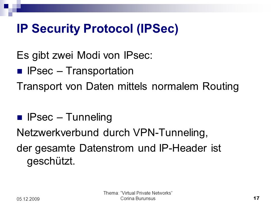 IP Security Protocol (IPSec)