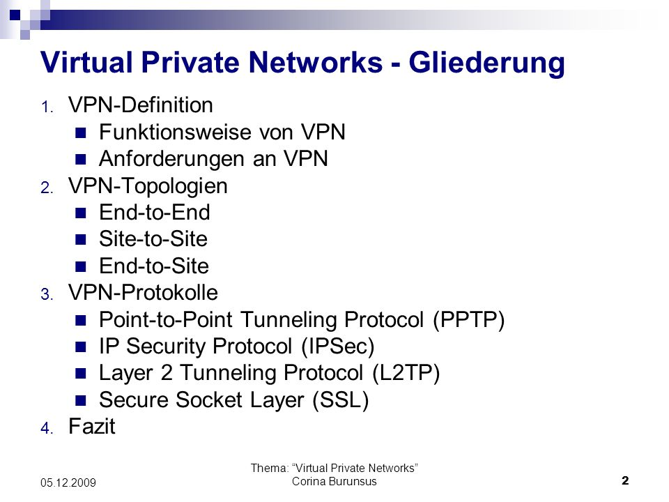 Virtual Private Networks - Gliederung
