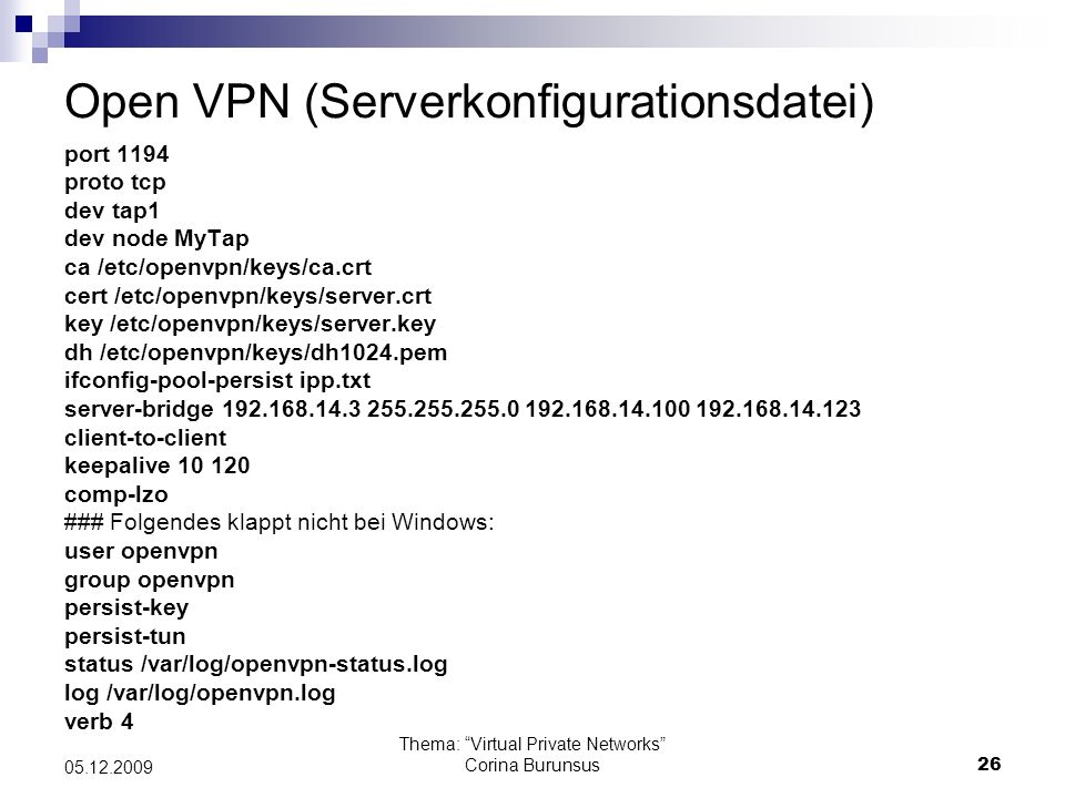 Open VPN (Serverkonfigurationsdatei)