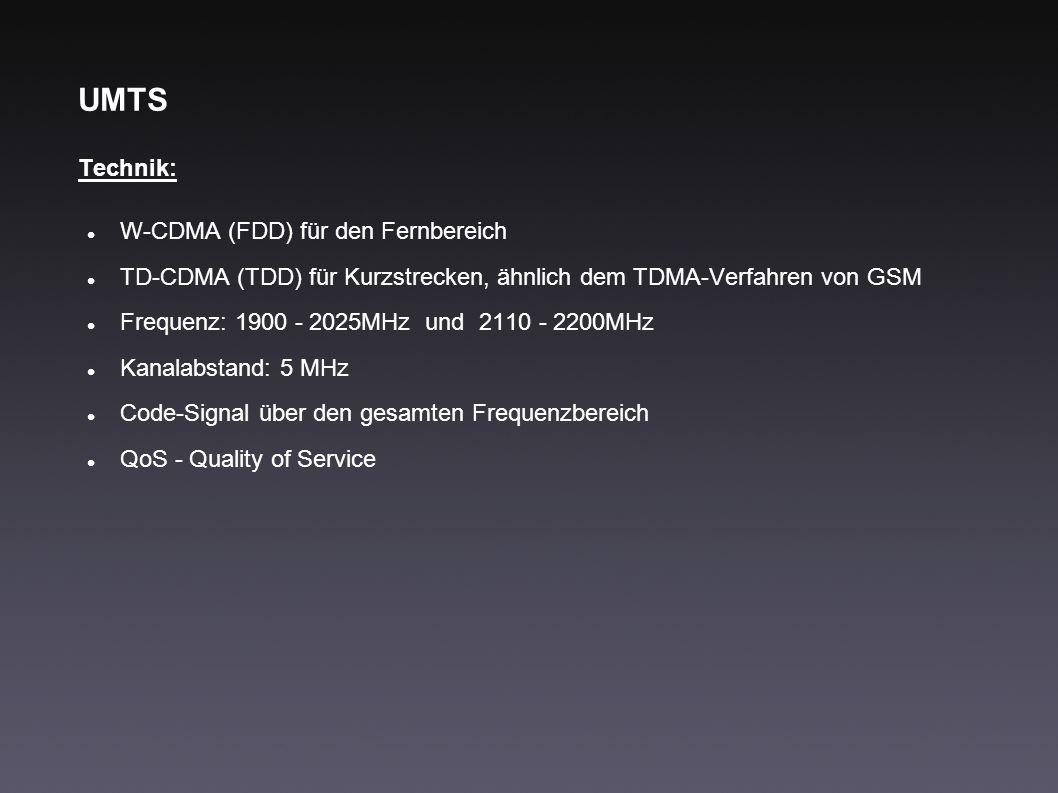 UMTS Technik: W-CDMA (FDD) für den Fernbereich