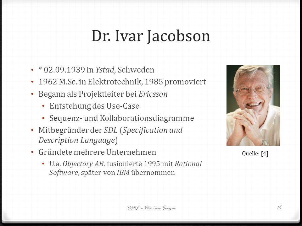 Dr. Ivar Jacobson * 02.09.1939 in Ystad, Schweden