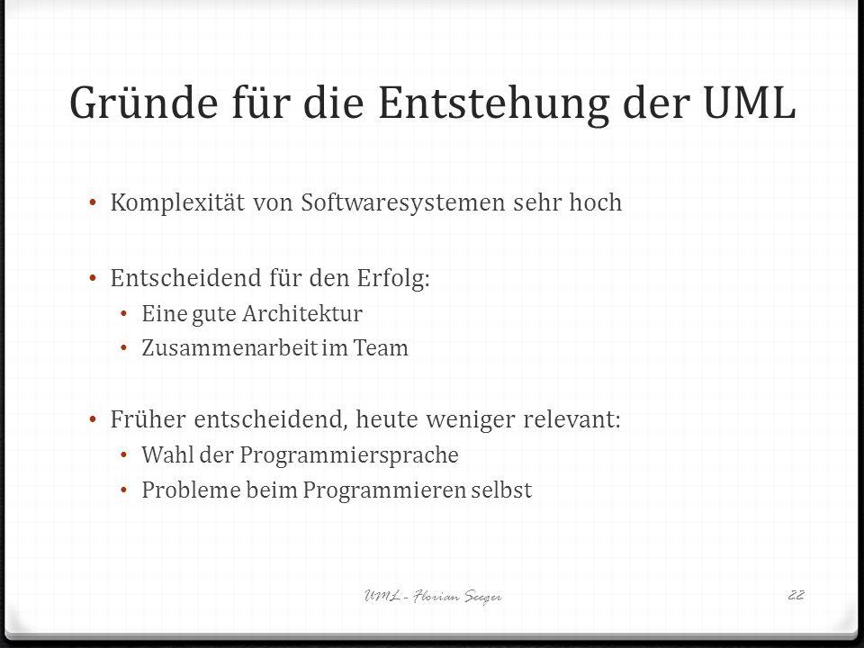 Gründe für die Entstehung der UML
