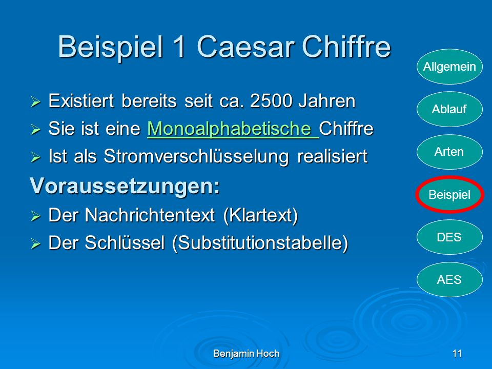 Beispiel 1 Caesar Chiffre