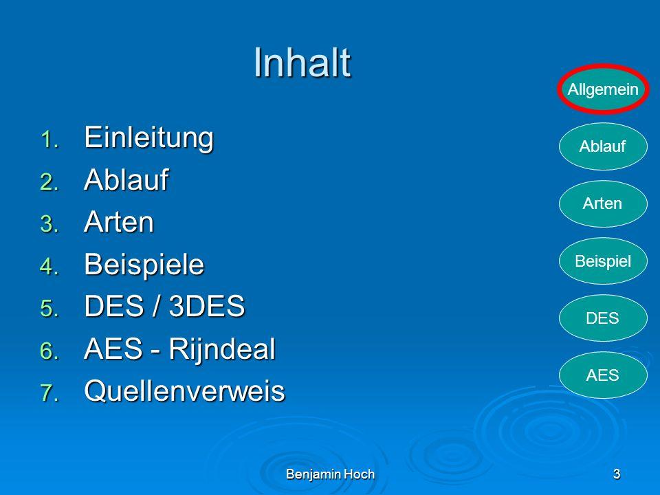 Inhalt Einleitung Ablauf Arten Beispiele DES / 3DES AES - Rijndeal