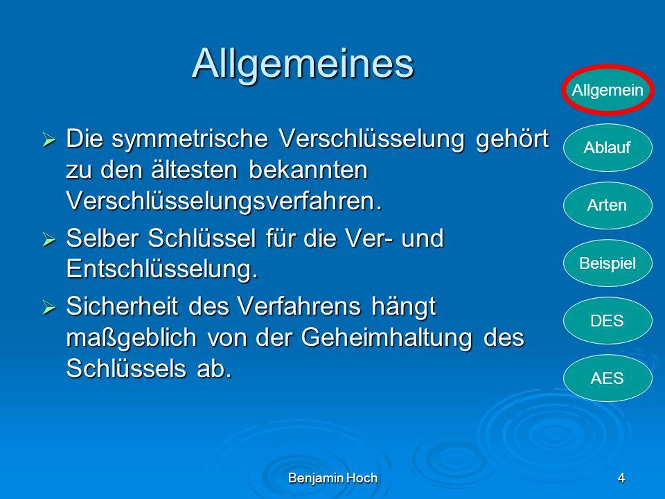Allgemeines Die symmetrische Verschlüsselung gehört zu den ältesten bekannten Verschlüsselungsverfahren.