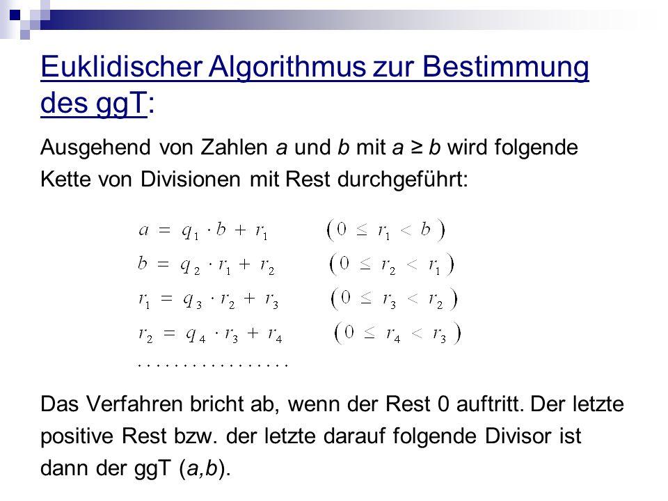 Euklidischer Algorithmus zur Bestimmung des ggT: