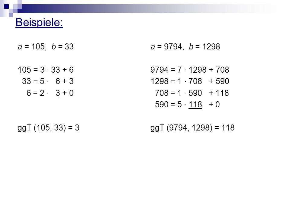 Beispiele: a = 105, b = 33 105 = 3 · 33 + 6 33 = 5 · 6 + 3