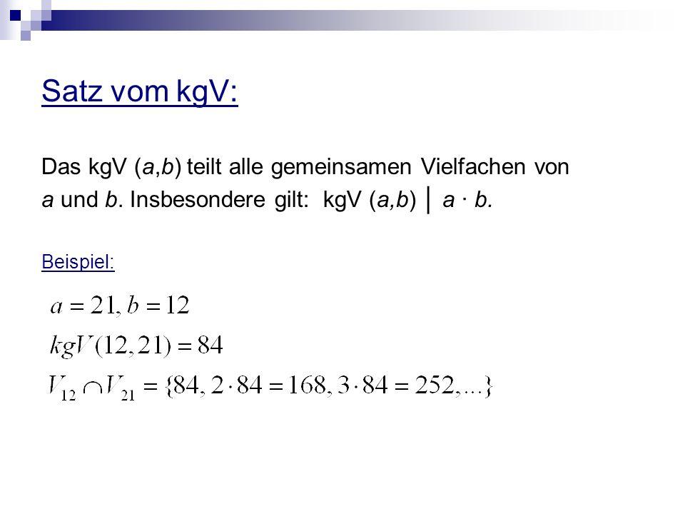 Satz vom kgV: Das kgV (a,b) teilt alle gemeinsamen Vielfachen von