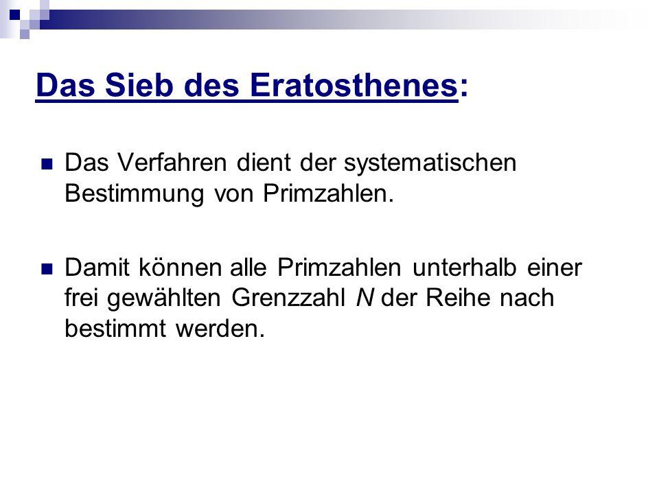 Das Sieb des Eratosthenes: