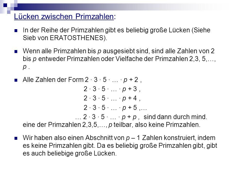 Lücken zwischen Primzahlen: