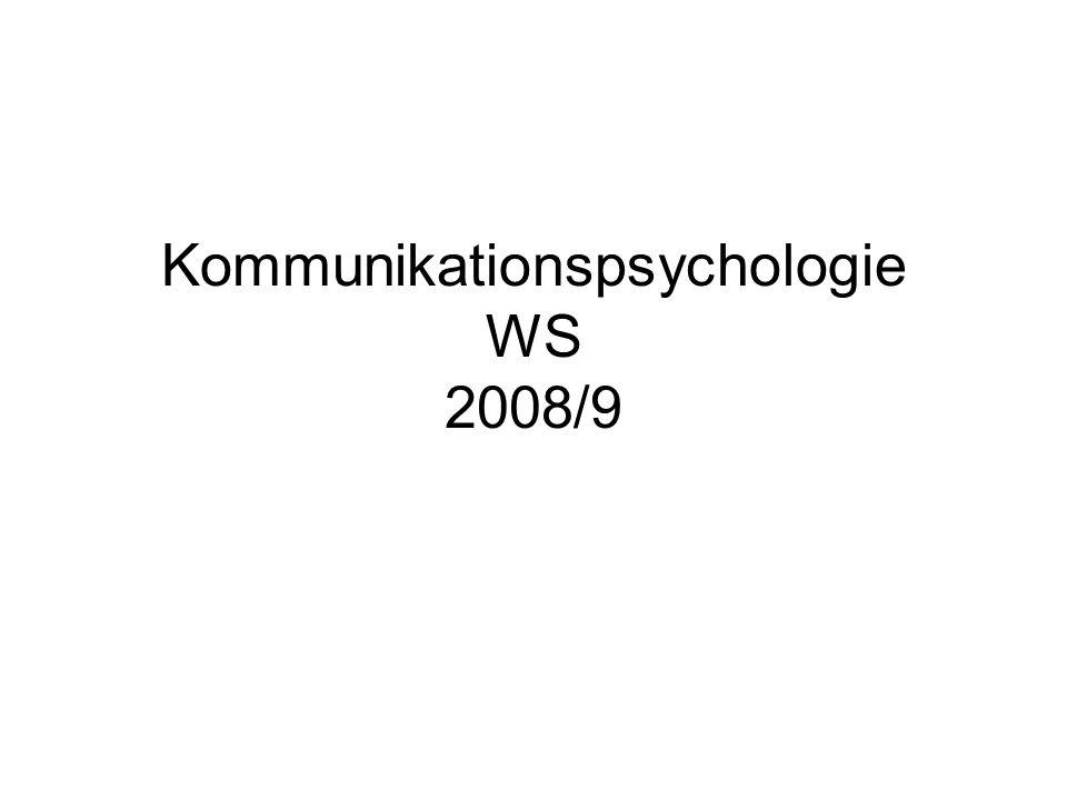 Kommunikationspsychologie WS 2008/9