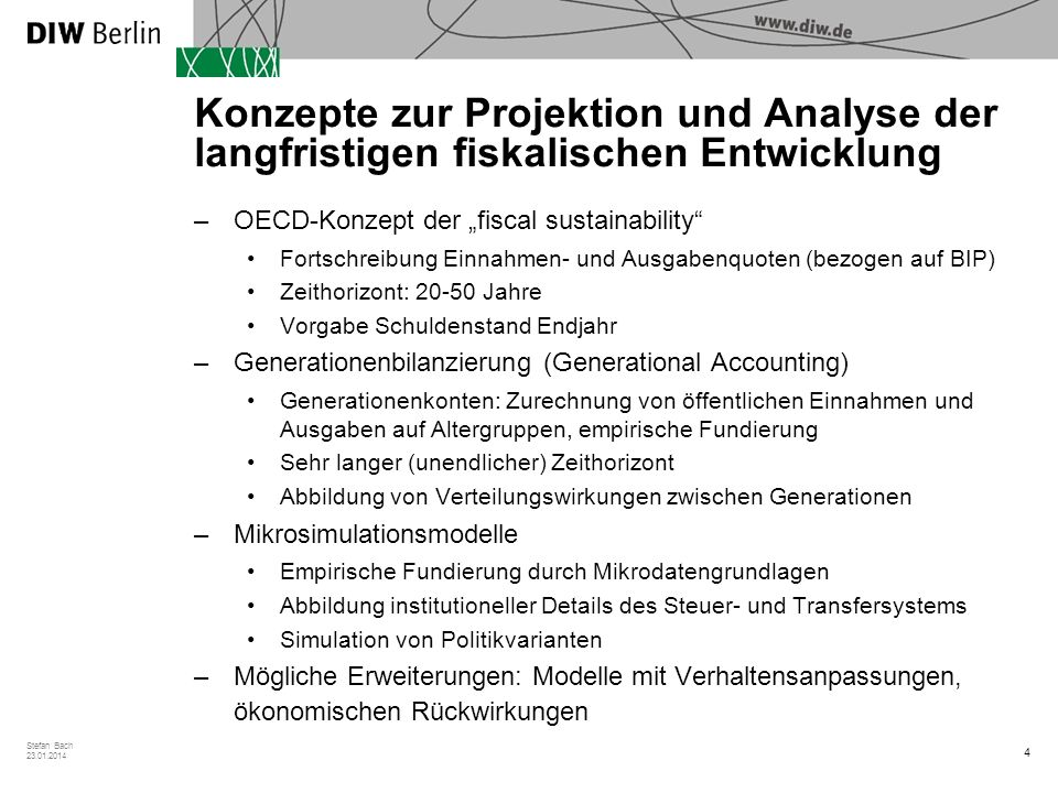 Konzepte zur Projektion und Analyse der langfristigen fiskalischen Entwicklung