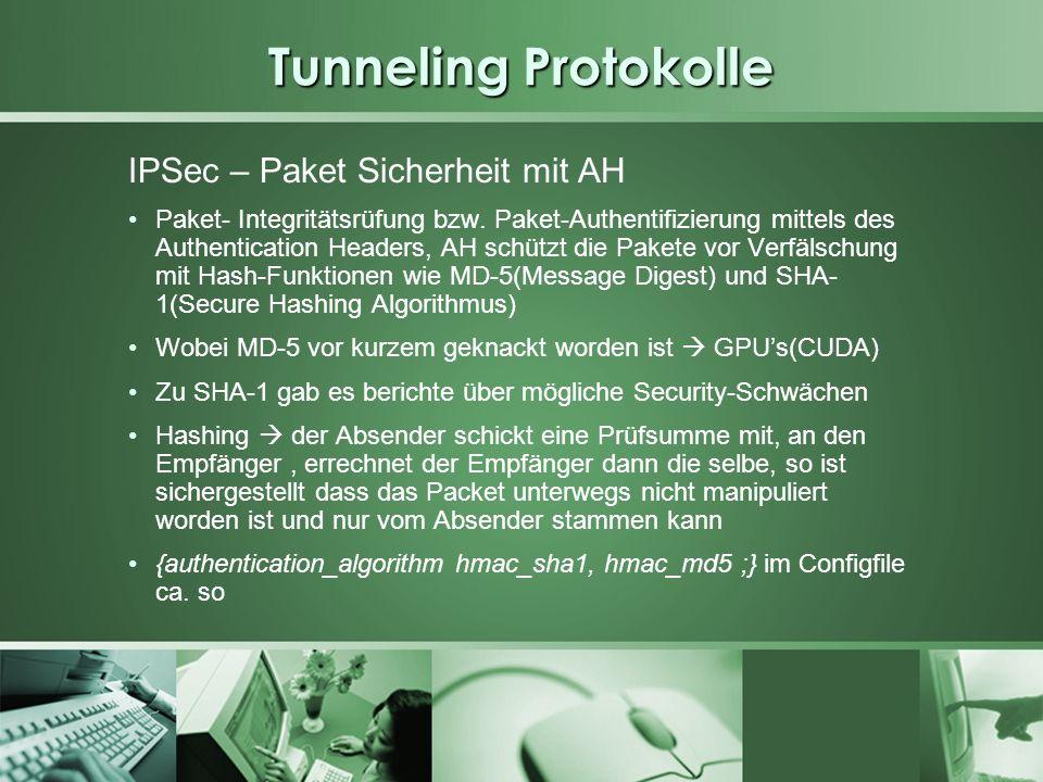 Tunneling Protokolle IPSec – Paket Sicherheit mit AH