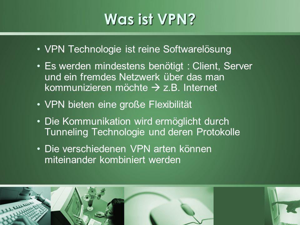Was ist VPN VPN Technologie ist reine Softwarelösung