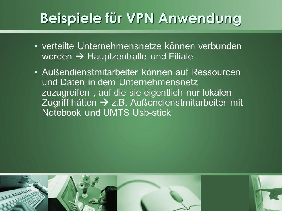 Beispiele für VPN Anwendung