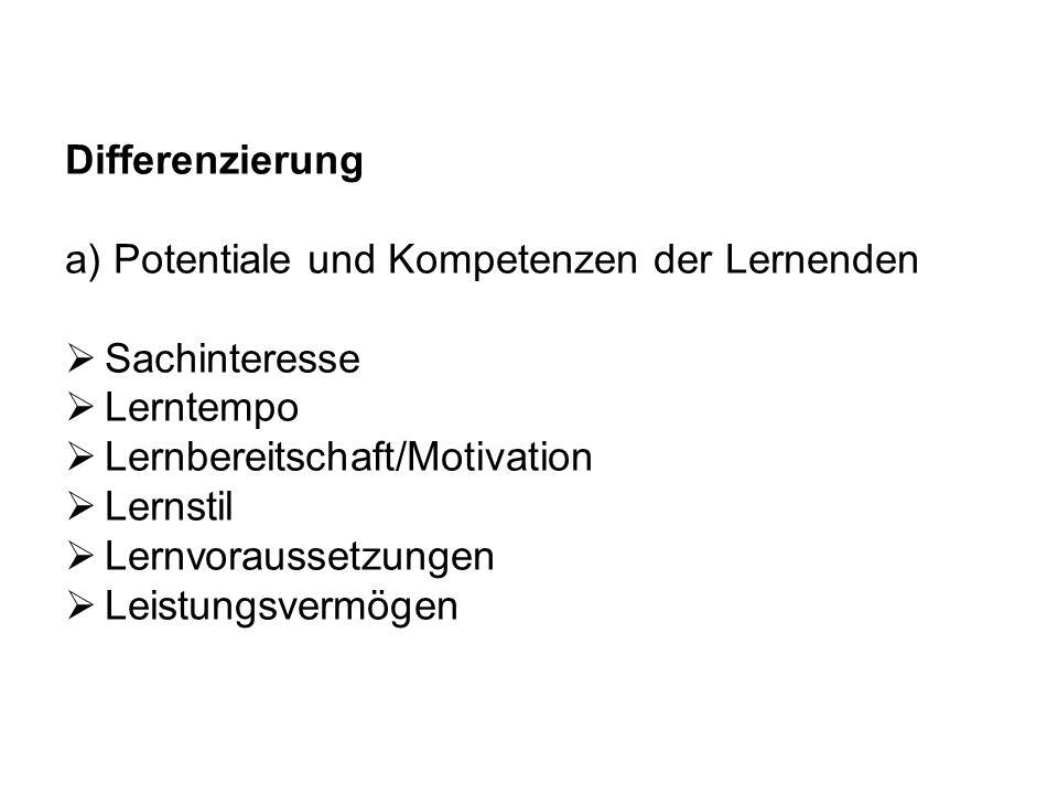 Differenzierung a) Potentiale und Kompetenzen der Lernenden. Sachinteresse. Lerntempo. Lernbereitschaft/Motivation.