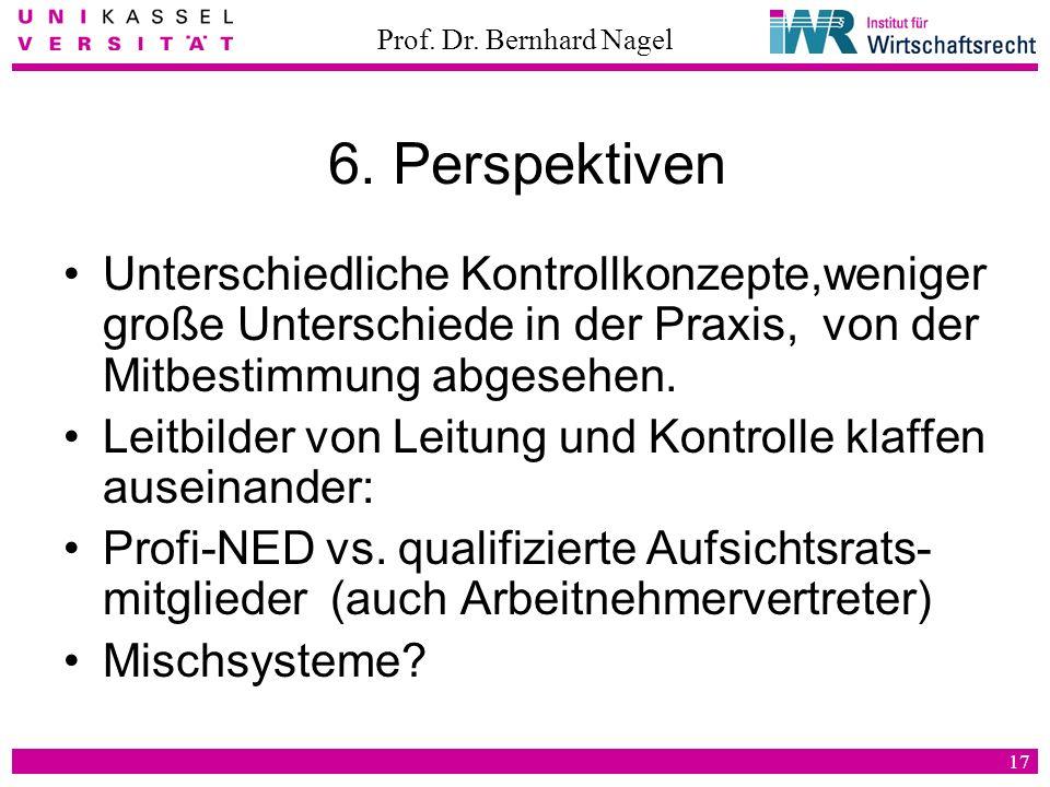 6. Perspektiven Unterschiedliche Kontrollkonzepte,weniger große Unterschiede in der Praxis, von der Mitbestimmung abgesehen.
