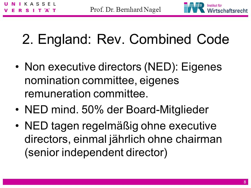 2. England: Rev. Combined Code