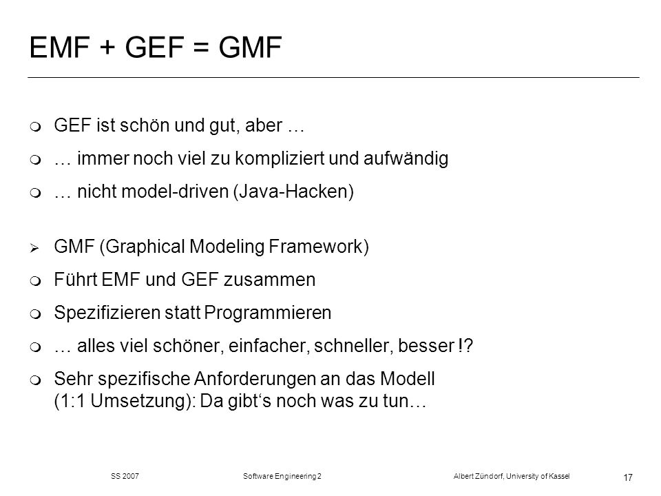 EMF + GEF = GMF GEF ist schön und gut, aber …
