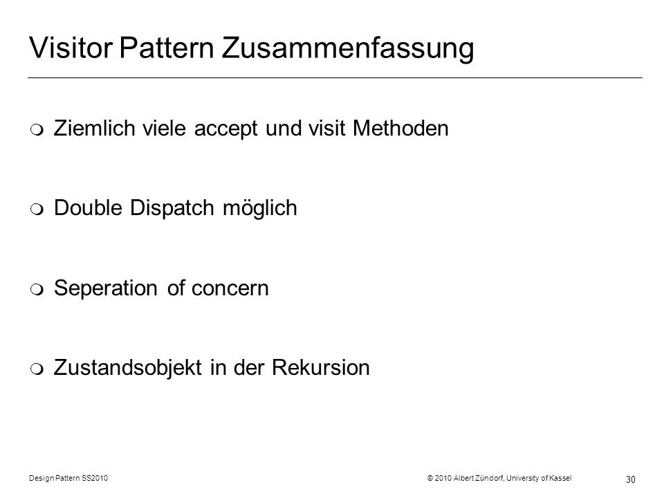 Visitor Pattern Zusammenfassung