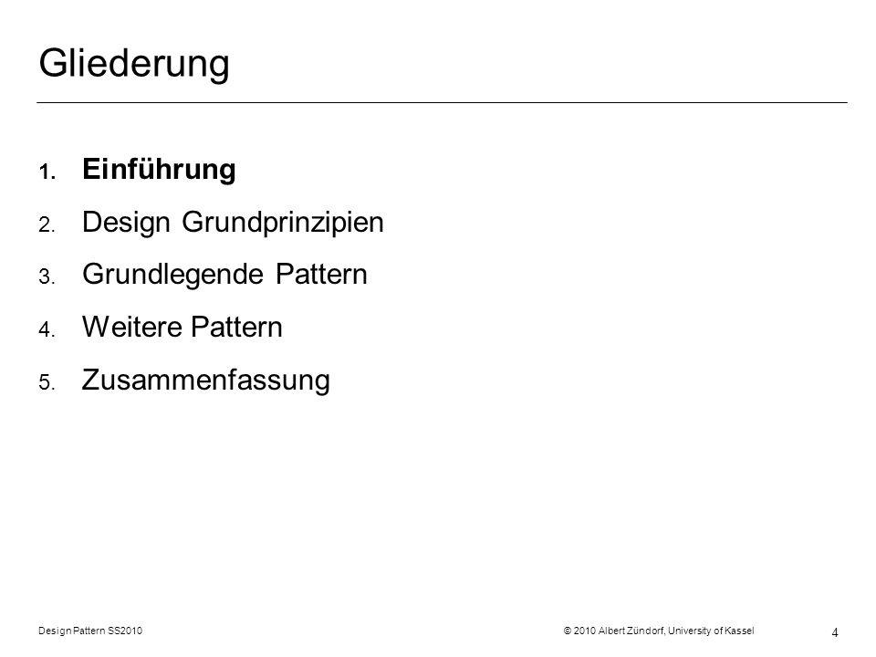 Gliederung Einführung Design Grundprinzipien Grundlegende Pattern