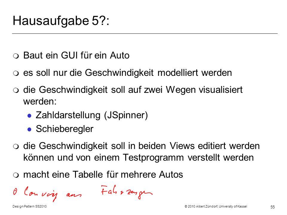 Hausaufgabe 5 : Baut ein GUI für ein Auto