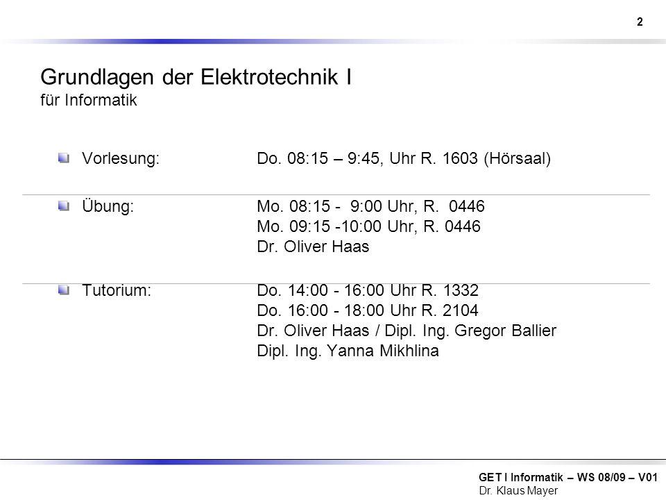 Grundlagen der Elektrotechnik I für Informatik