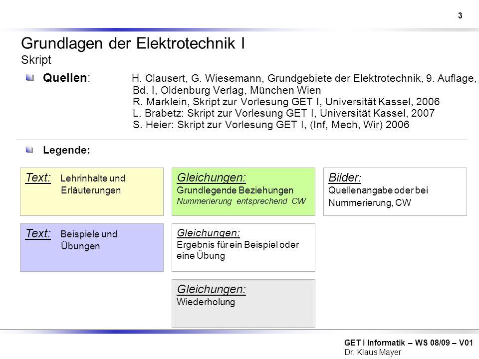 Grundlagen der Elektrotechnik I Skript