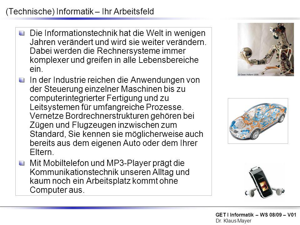 (Technische) Informatik – Ihr Arbeitsfeld
