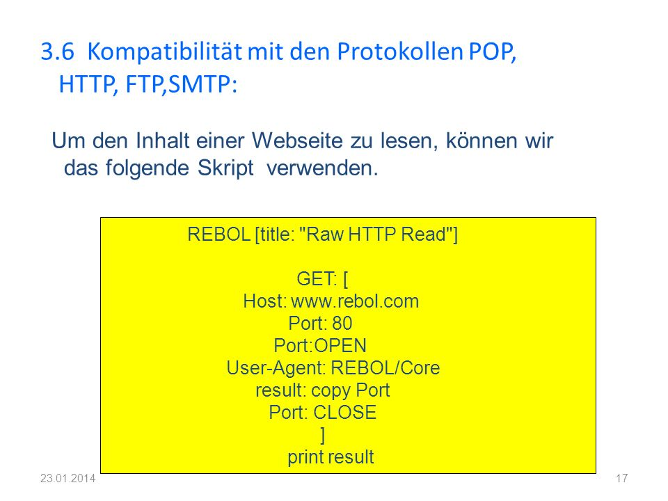 3.6 Kompatibilität mit den Protokollen POP, HTTP, FTP,SMTP: