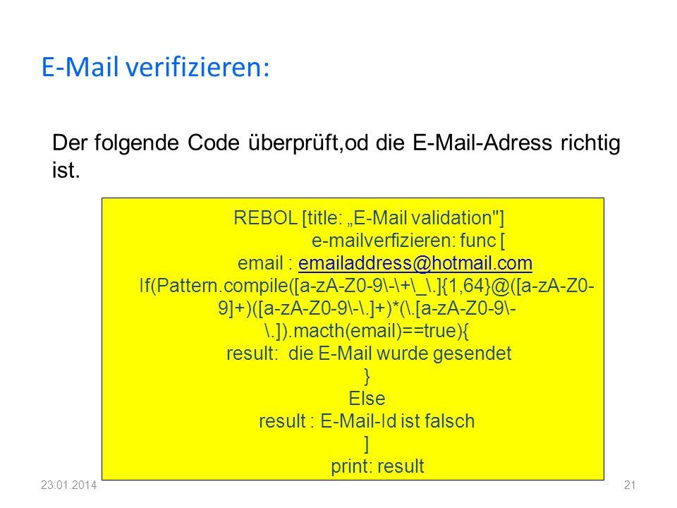 E-Mail verifizieren: Der folgende Code überprüft,od die E-Mail-Adress richtig ist.