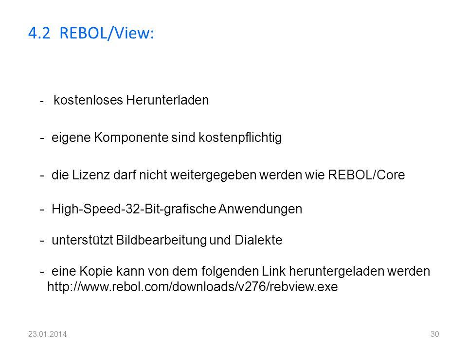 4.2 REBOL/View: - eigene Komponente sind kostenpflichtig