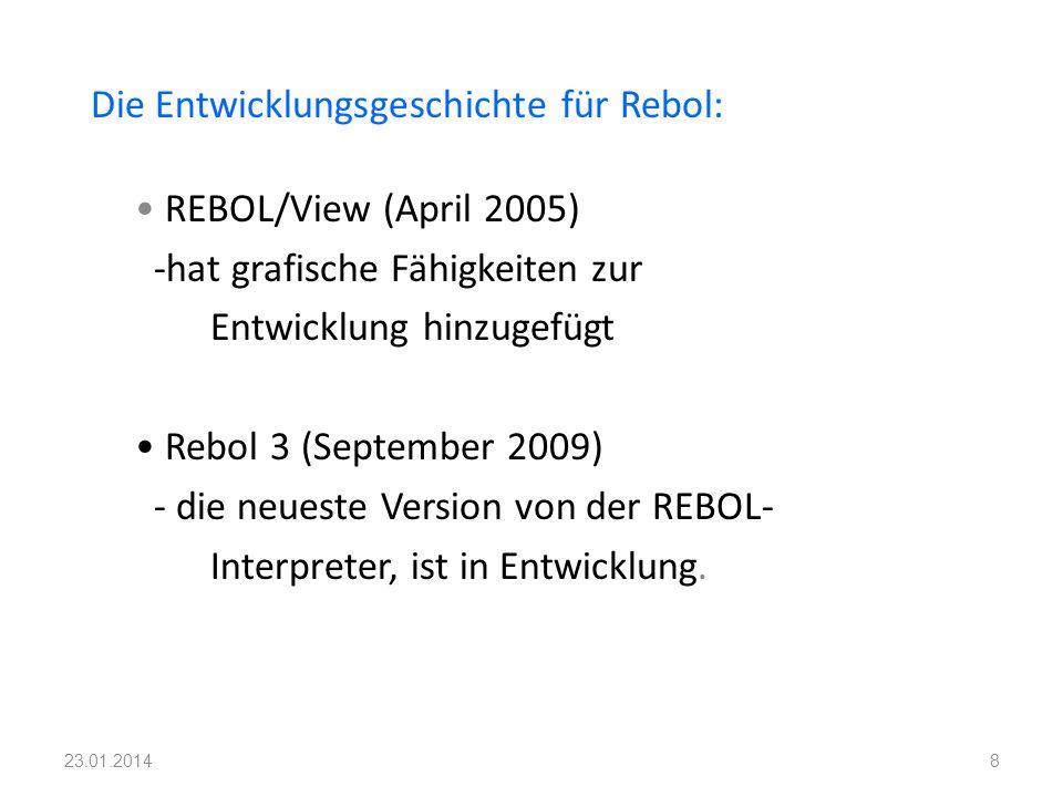 Die Entwicklungsgeschichte für Rebol: