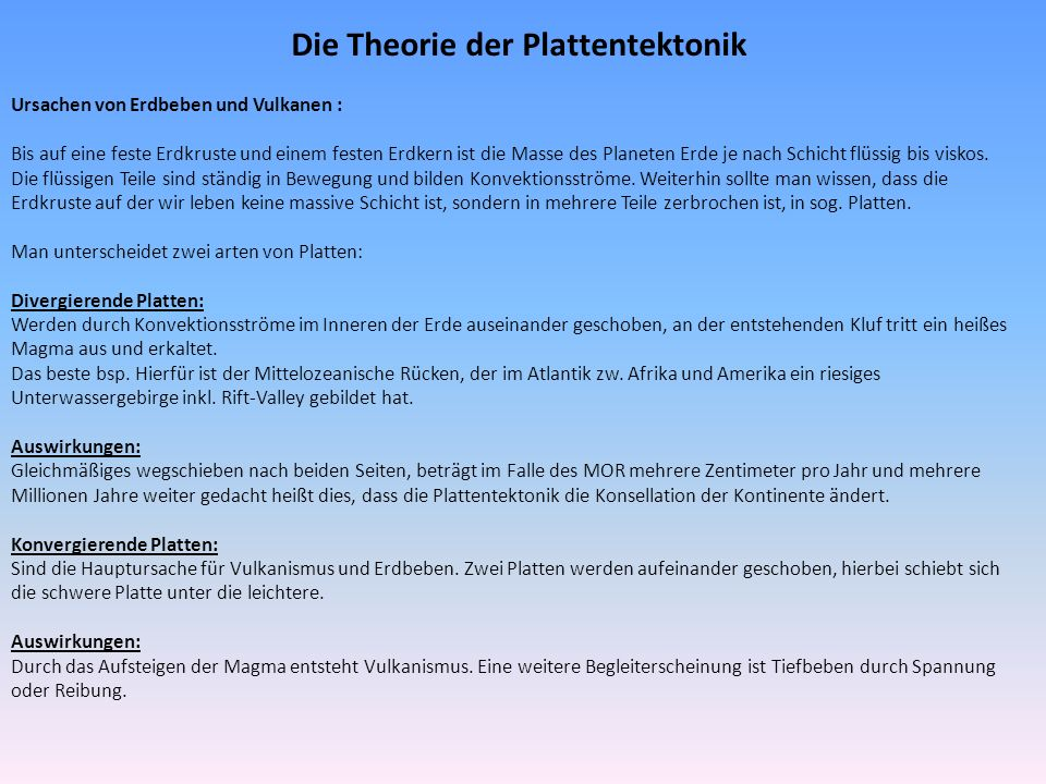 Die Theorie der Plattentektonik