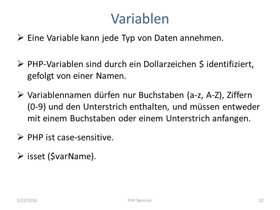 Variablen Eine Variable kann jede Typ von Daten annehmen.