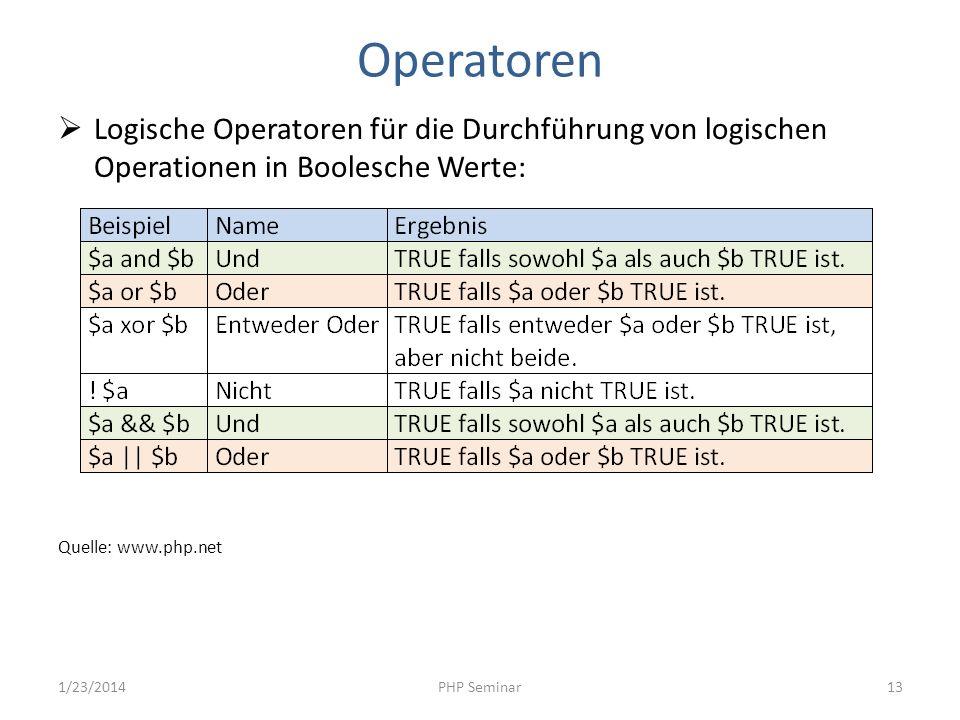 Operatoren Logische Operatoren für die Durchführung von logischen Operationen in Boolesche Werte: Quelle: www.php.net.